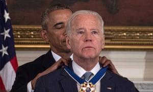 Barack Obama awards Joe Biden the Presidential Medal of Freedom on 12 January.