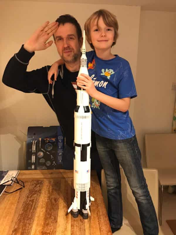 John Doran and his son after a successful Lego project.