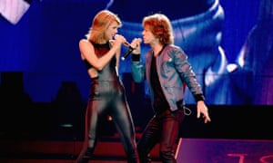Taylor Swift and Mick Jagger perform onstage during the 1989 World Tour in Nashville in September.