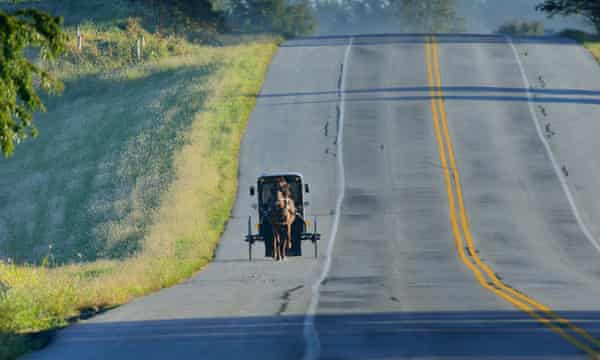 An Amish buggy on the road in Lititz.