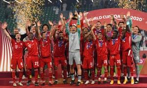Manuel Neuer leads the Bayern Munich celebrations as he lifts the FIFA Club World Cup Qatar 2020 trophy.