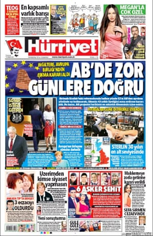 Hurriyet newspaper front page 25 June 2016 European Referendum David Cameron resignation