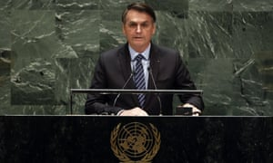 Brazil's President Jair Bolsonaro addresses the 74th session of the United Nations general assembly, Tuesday, Sept. 24, 2019