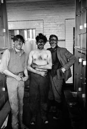 Miners in the locker room after a shift at Dawdon colliery, County Durham, circa 1963, from the exhibition The North