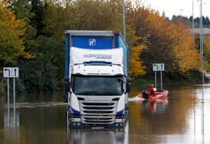 A lorry stranded in flood waters in Rotherham