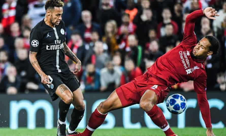 Virgil van Dijk challenges Neymar during Tuesday's Champions League victory