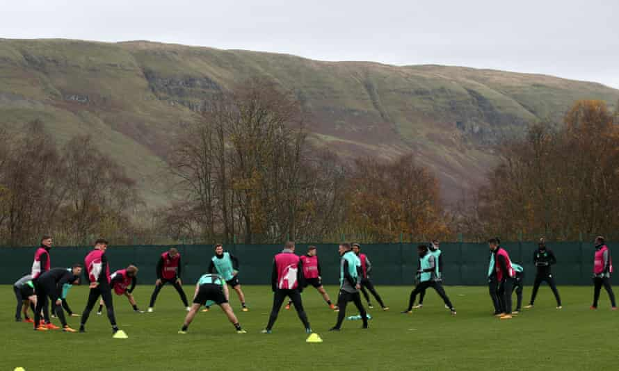 Celtic's squad get down to work in Monday's training session at Lennoxtown as they prepare for Bayern Munich's Champions League visit.