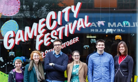 Presenters and guests from the Guardian's breakfast show at GameCity in Nottingham. From the left: Elizabeth Simoens, Kat Brewster, Keith Stuart, Jordan Erica Webber, Arseniy Klishin and Laura Gray