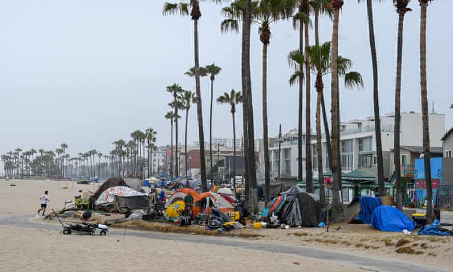 A homeless camp on the Venice Beach Boardwalk in Los Angeles, California.
