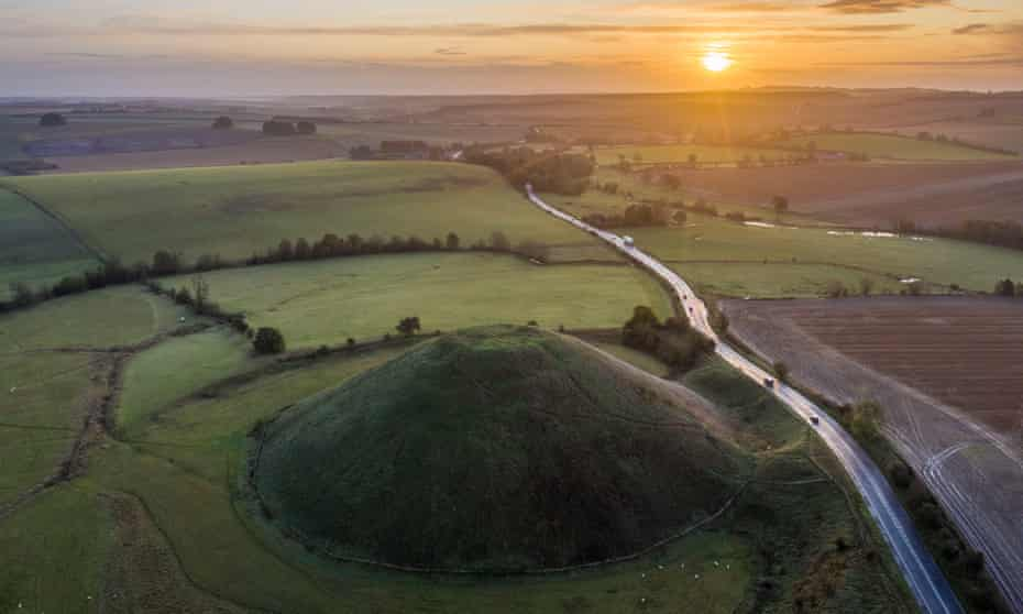 Silbury Hill, Wiltshire, at sunset.