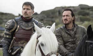 An image from the leaked episode of Game Of Thrones with Nikolaj Coster-Waldau and Jerome Flynn.