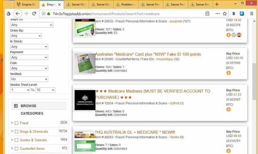 A screenshot of Empire Market vendors selling Medicare details