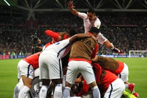 Chile celebrate winning the penalty shootout.