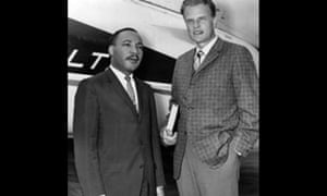 Graham with Martin Luther King in New York. Graham insisted on desegregation at his crusades in the 1950s, taking down the ropes that separated black and white followers