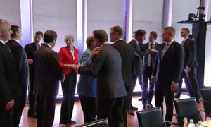 Theresa May and other EU leaders at the start of today's summit meeting