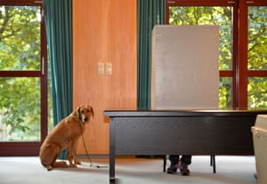 A dog waits as its master casts his ballot at a polling station near Aachen, Germany, during general elections