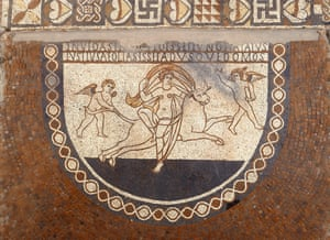 a mosaic floor at Lullingstone, Kent.