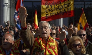 Supporters of Franco perform fascist salutes at a rally in Madrid last week commemorating his death.