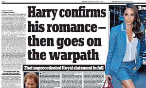 Screenshot of Daily Mail report on Prince Harry's statement.