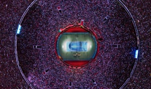 A drone photo shows an aerial view of the Mexico City Bullring during a tennis match between Swiss player Roger Federer and German player Alexander Zverev