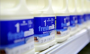 Milk on sale at Morrisons supermarket in Heywood, Greater Manchester.