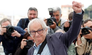 Ken Loach promoting Sorry We Missed You in Cannes.