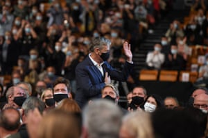 Actor Viggo Mortensen waves at the opening ceremony of the 12th Lumière film festival