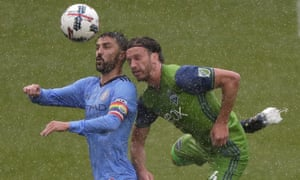 David Villa scored two goals in the heavy rain on Saturday afternoon