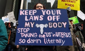 Demonstrators protest at an abortion rights rally in Chicago.