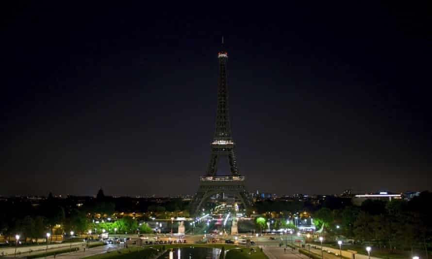 The Eiffel Tower with its lights turned off.