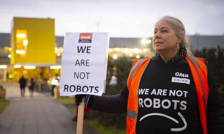 A GMB representative during a Black Friday protest in Swansea last month.