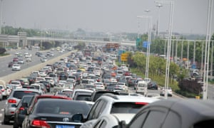 Traffic jam in Zhengzhou city, central China