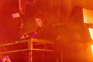 Palestine's first female techno DJ, SAMA' (AKA Sama Abdulhadi), keeps the party going late on Sunday night.