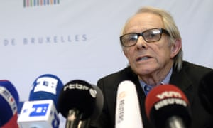 Ken Loach takes part in a press conference in Belgium