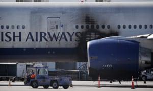 The damaged British Airways Boeing 777-200 at McCarran airport in Las Vegas.