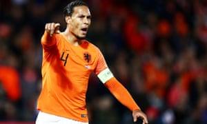 Virgil van Dijk playing for the Netherlands