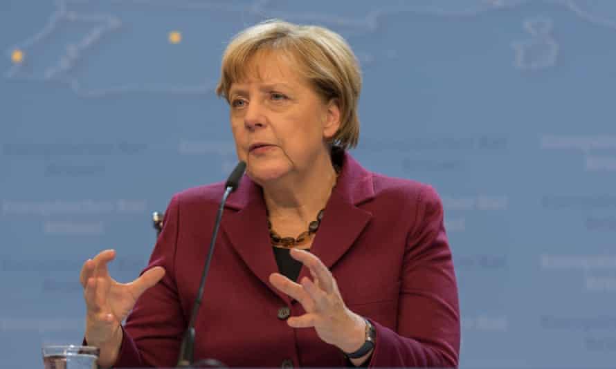 German chancellor Angela Merkel speaks at the end of the EU summit in Brussels