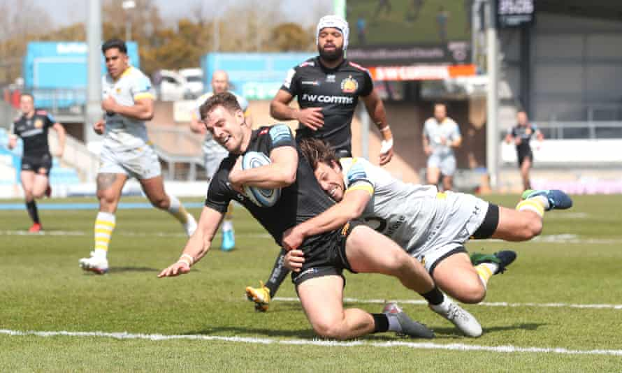Exeter Chiefs' Ollie Devoto scores his side's first try of the game at Sandy Park