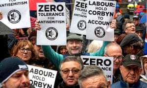 Demonstrators campaign against antisemitism outside Labour HQ in London.