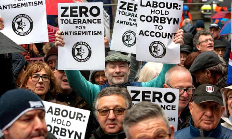 Protests against antisemitism at the top of Labour.