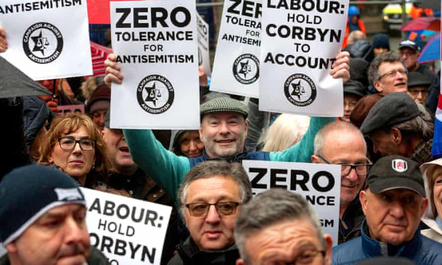 Protesters from Campaign Against Antisemitism at Labour headquarters in London, April 2018.