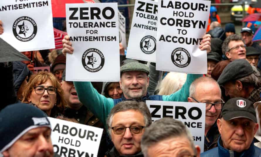 Anti-antisemitism demonstrators outside the Labour party's headquarters in April 2018.