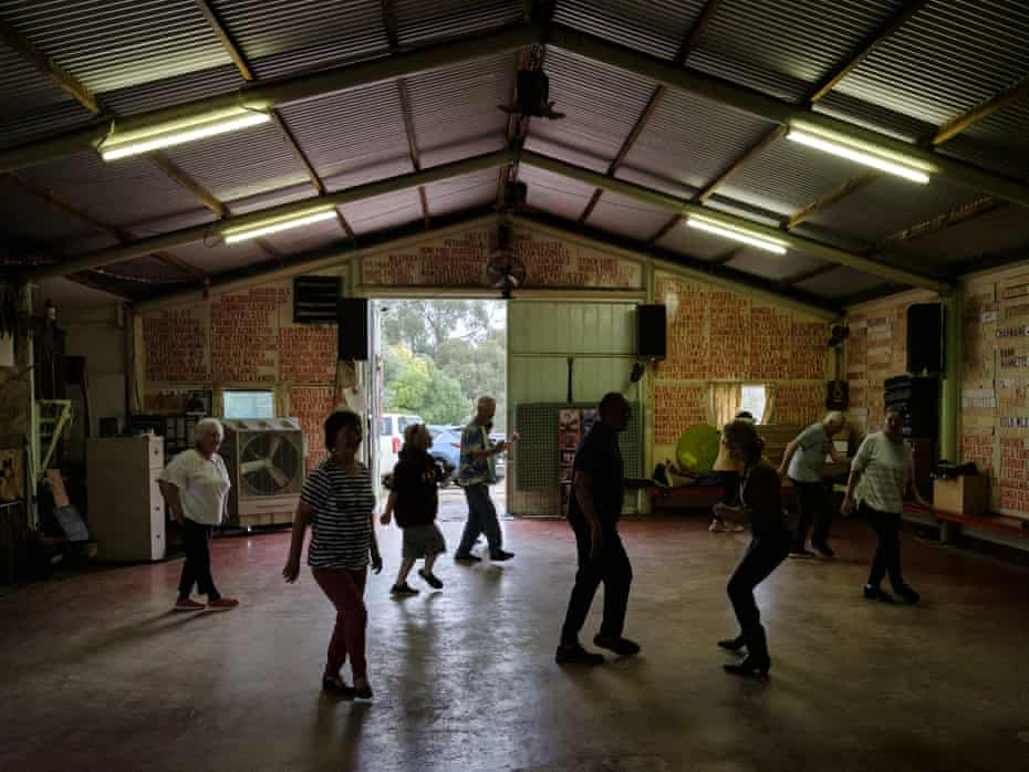 Barbara Hill's line dance class on Saturday afternoon in a renovated shed on her property in Fryarstown, Victoria, on Saturday, March 13, 2021.