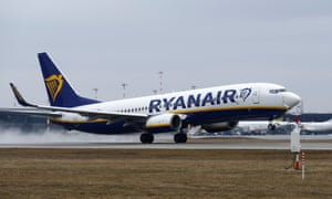 A Ryanair Boeing 737-800 plane takes off at Riga international airport.