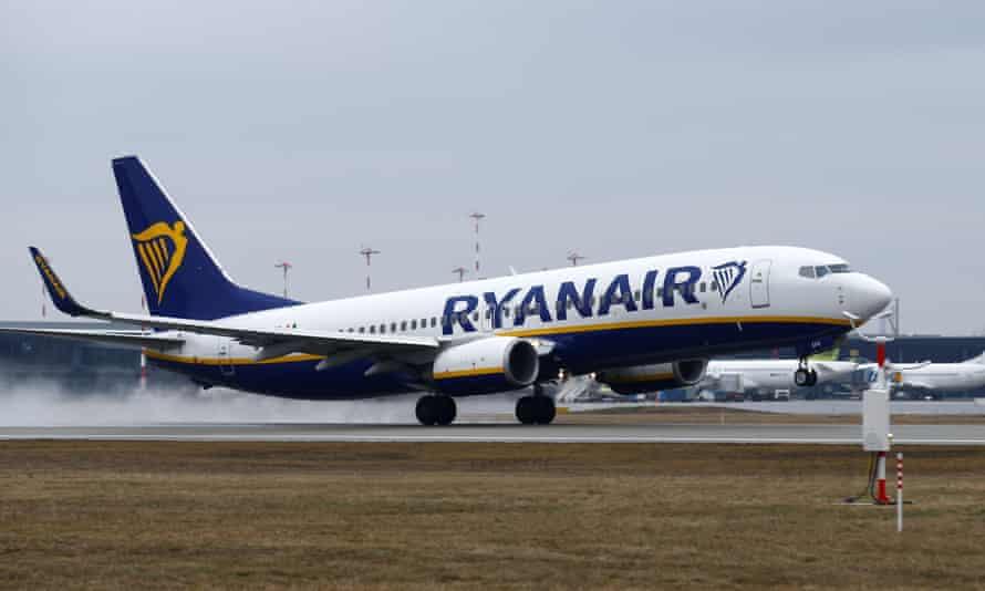 A Ryanair Boeing 737-800 plane takes off at Riga international airport.