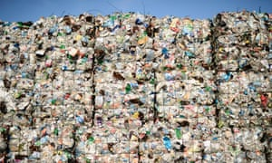 Plastic waste at a recycling plant