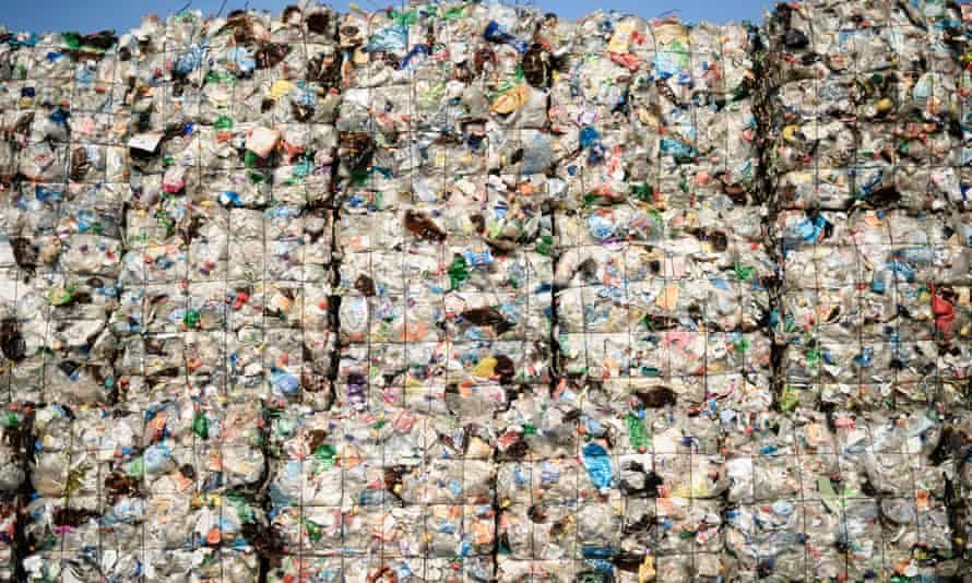 Plastic waste seen at the ALBA Group recycling plant in Berlin, Germany.