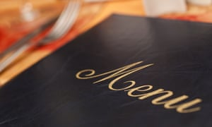 Menu on a restaurant table