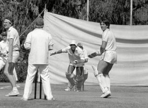 John Barnes and Gary Lineker (in a spectacular pair of shorts) play cricket while on tour in Mexico with England in June 1985.