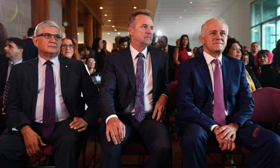 Minister for Indigenous health, Ken Wyatt (left), minister for Indigenous affairs, Nigel Scullion (middle), and prime minister, Malcolm Turnbull (right), at the Close the Gap parliamentary breakfast event at Parliament House in Canberra, 8 February 2018.